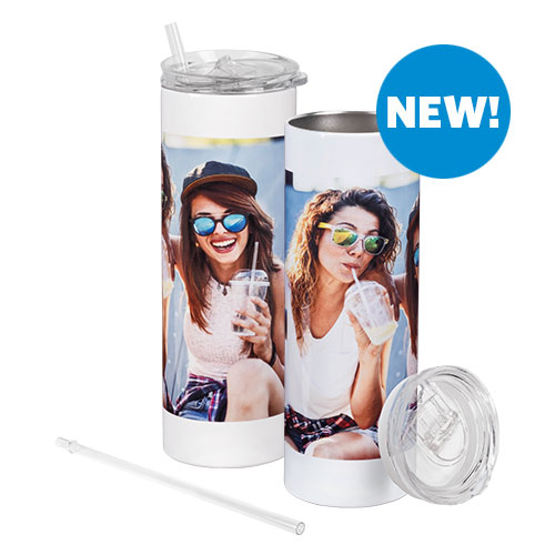 20 oz Slim Tumbler with Straw - Take your favorite drink on the go with this 20 oz slim tumbler with straw! The stainless-steel tumbler is personalized with your image(s) or a design and comes with a reusable, rigid, clear plastic straw.