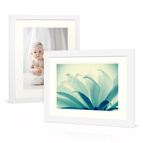 Basic White Frame - Double White Mat - Enjoy fresh sophistication with a basic white frame that comes with all white, bevel cut mats.