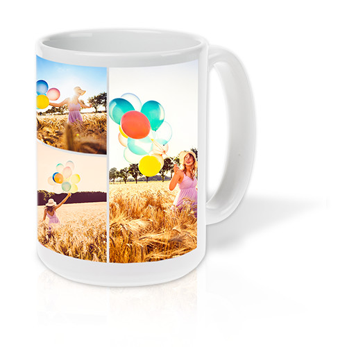 Collage Mug - Create a collage of up to 15 of your favorite photos and print it on the side of a ceramic mug.