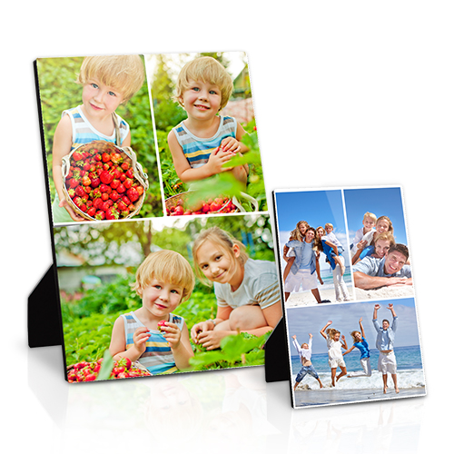 Collage Desktop Plaque with Easel - Put a modern twist on tabletop décor with up to 6 of your favorite photos printed on a sleek, high-gloss Collage Photo Plaque with easel.