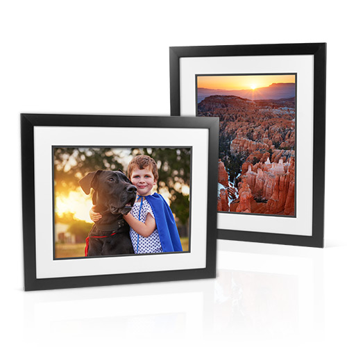 Essential Frame – Double Matted (White over Black) - Enjoy this solid wood frame that comes with double all white, bevel cut mats.