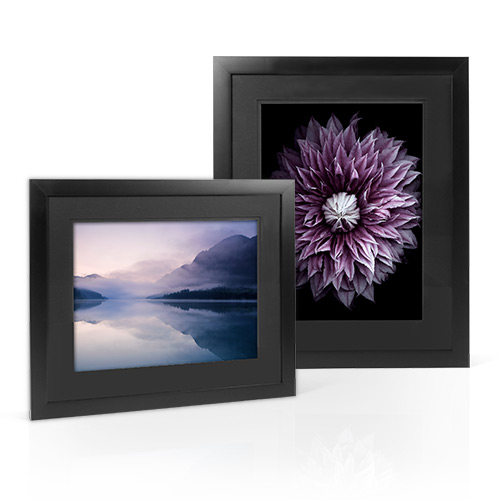Essential Frame – Double Matted (Black over Black) - Enjoy this solid wood frame that comes with double all black, bevel cut mats.