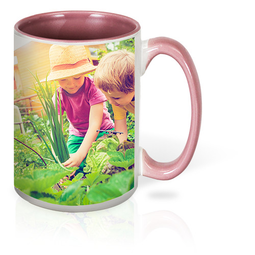 15 oz Colorful Mug - Sip and smile with this ceramic mug with a colorful interior that stars your favorite photo. Dishwasher and microwave-safe 15 oz mug.