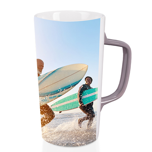 Café Mug - Enjoy every sip from a 12 oz or 16 oz Café Mug. Wrapped in your photo, the ceramic mug features a gray handle and is microwave and dishwasher safe.