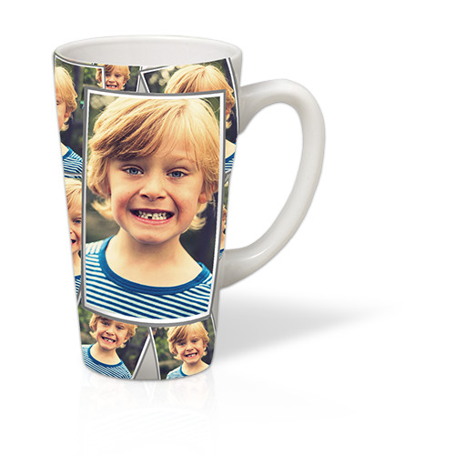 17 oz Tiled Latte Mug - Hold plenty of your favorite beverage in this 17oz tall latte mug decorated with a treasured photo.