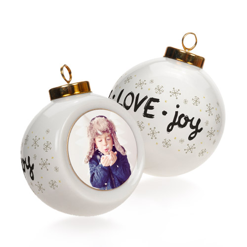 Round Ornament - Personalize a classic ceramic Round Ornament for a new tradition.