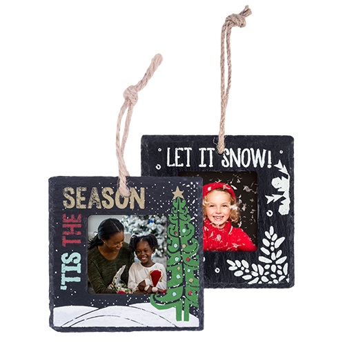 Slate Ornament - Decorate your tree with a personalized Slate Ornament featuring your favorite photo in a festive border design.