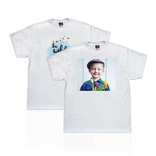 T-Shirt - Make a unique fashion statement by customizing a premium white 100% cotton T-Shirt with your own photo or design. Machine washable, available in adult sizes S-XXL.