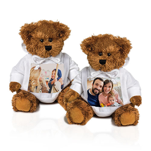 Photo Teddy Bear - Personalize this cuddly 12'  bear with your favorite photo printed on his stylish hoodie.