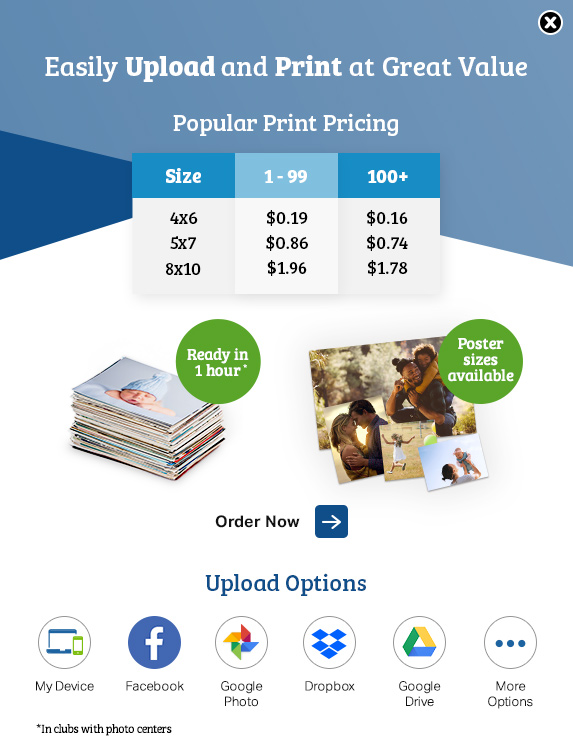 Print pricing popup