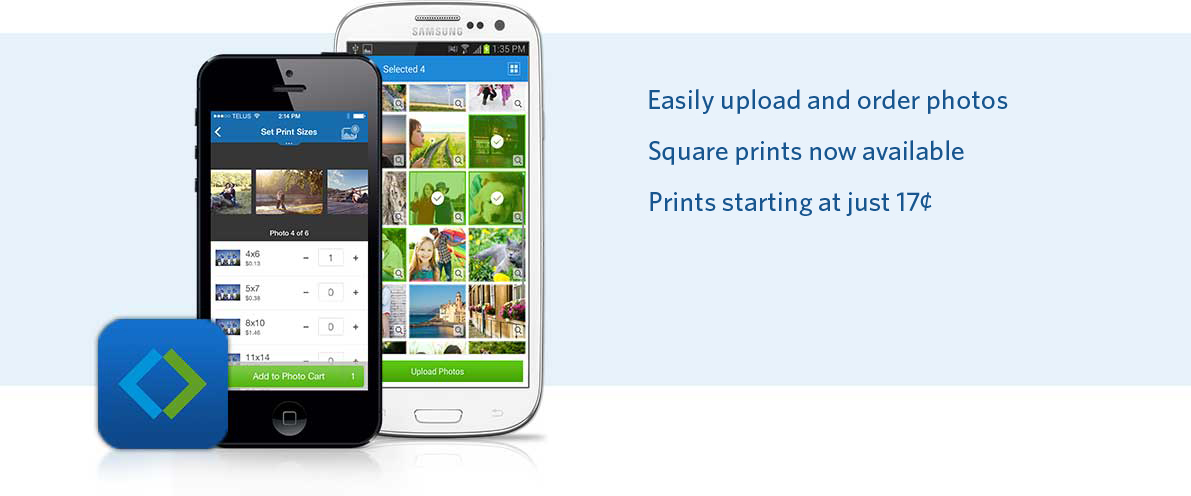 Upload and order photos from iPhone or Android app